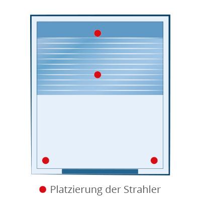 Platzierung der Strahler bei der Infrarotkabine Baltrum