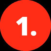Roter Kreis mit weißer Eins