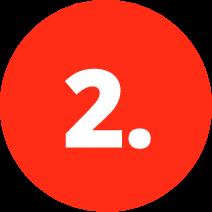 Roter Kreis mit weißer Zwei