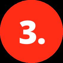 Roter Kreis mit weißer Drei